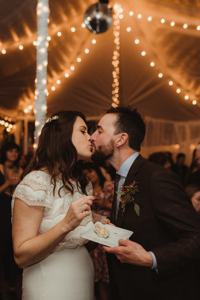 Twenty Mile House Wedding, couple kissing photo