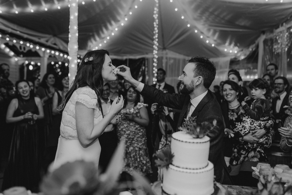 Twenty Mile House Wedding, eating cake photo