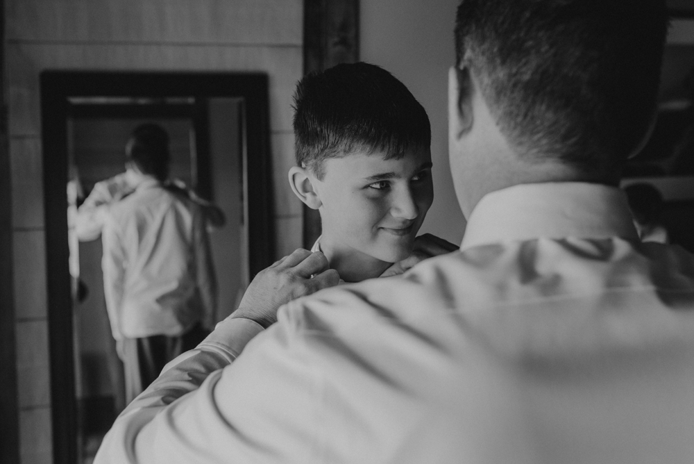 West Shore Cafe Wedding, groom helping his older son with his tie photo