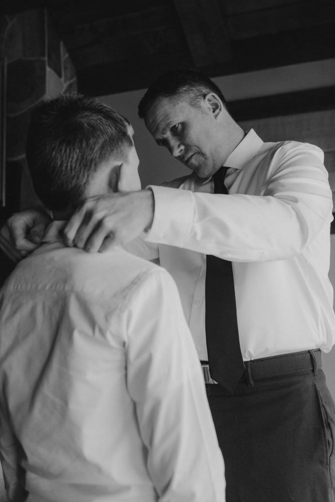 West Shore Cafe Wedding, groom helping his younger son with his tie photo