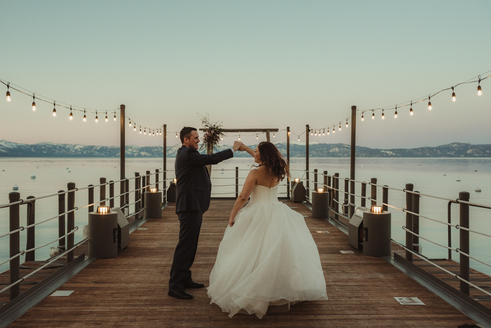 West Shore Cafe Wedding, couple dancing on a dock photo