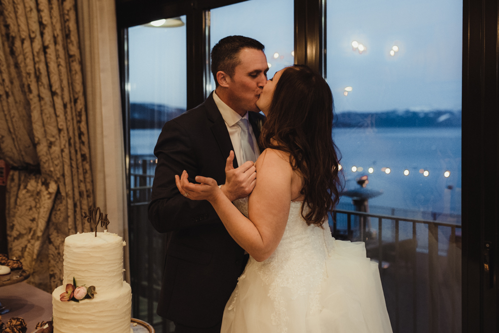 West Shore Cafe Wedding, couple kissing photo