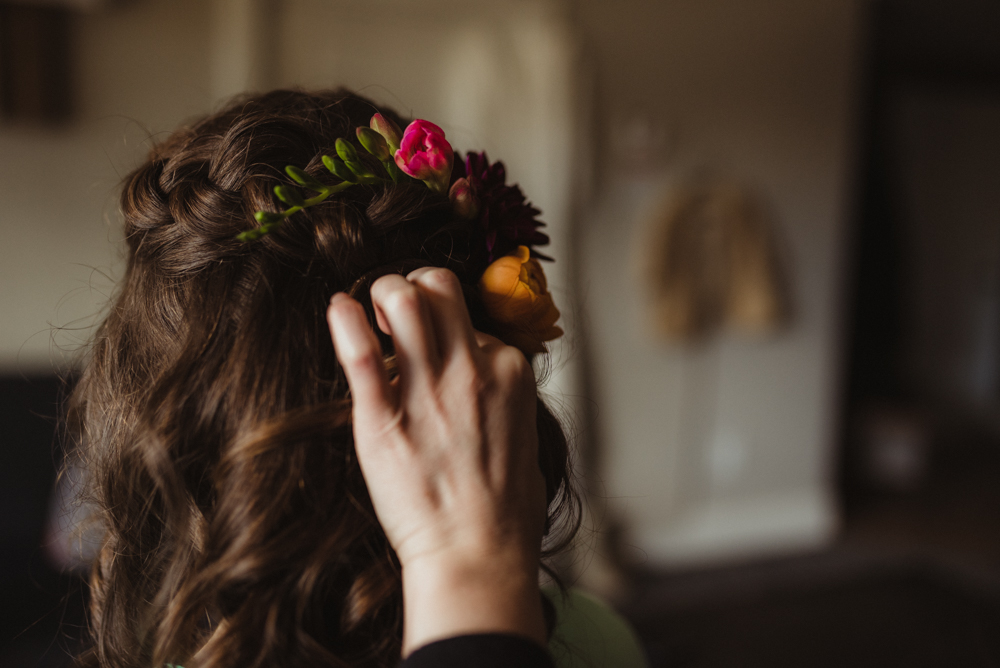 Emerald Bay Elopement, bride with flowers in her hair photo