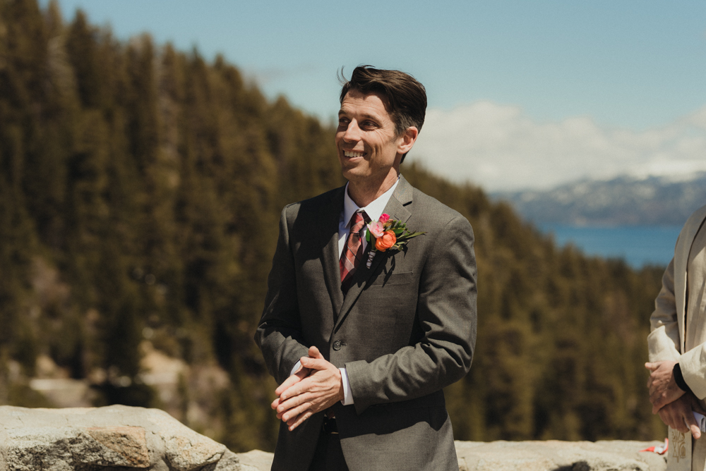Emerald Bay Elopement, snowy first look photo