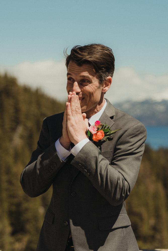 Emerald Bay Elopement, grooms reaction photo