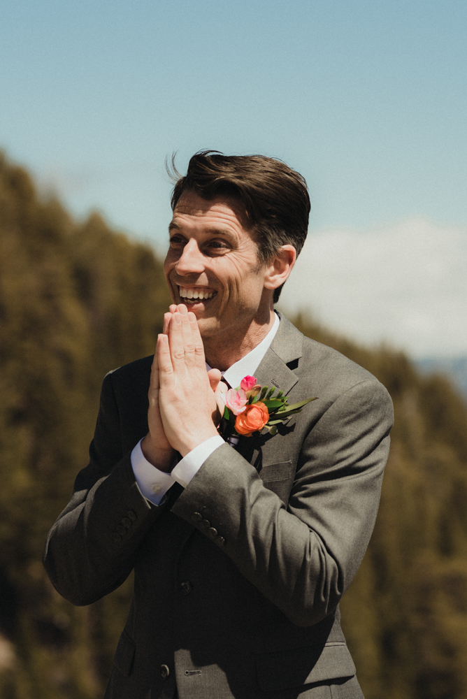 Emerald Bay Elopement, groom excited to see his bride photo