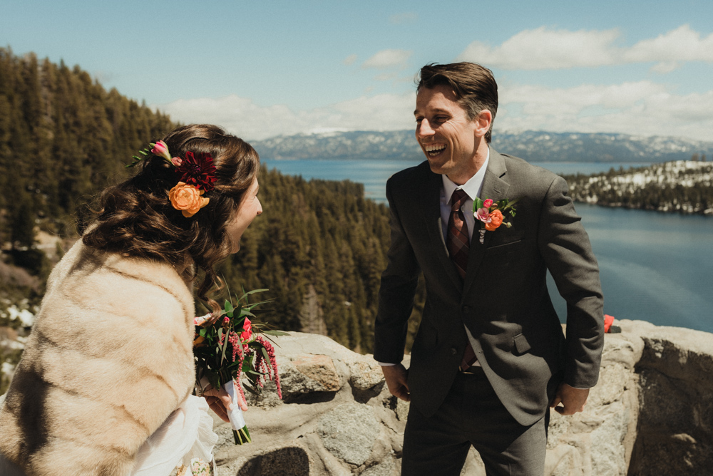 Emerald Bay Elopement, happy reaction at a first look