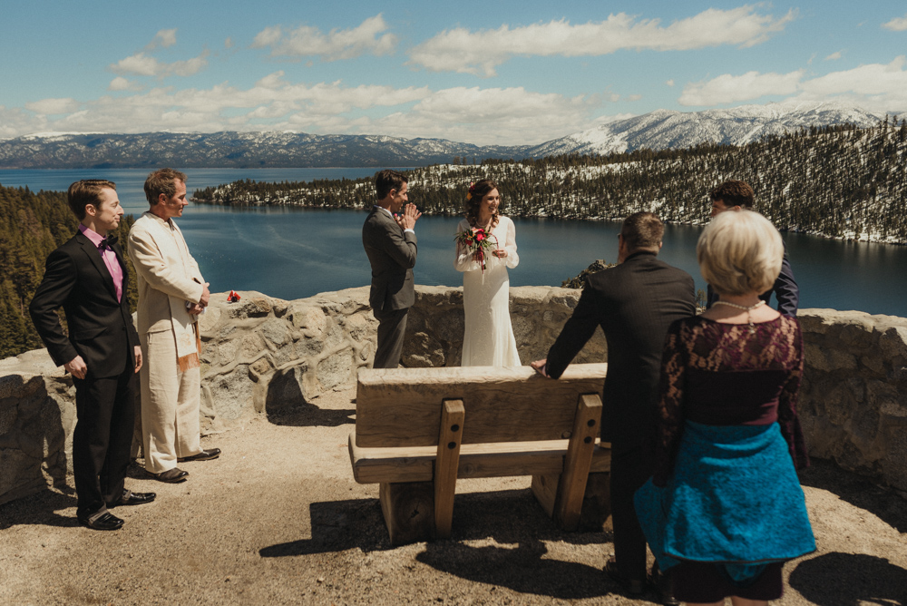 Emerald Bay Elopement, couple at their ceremony cite photo