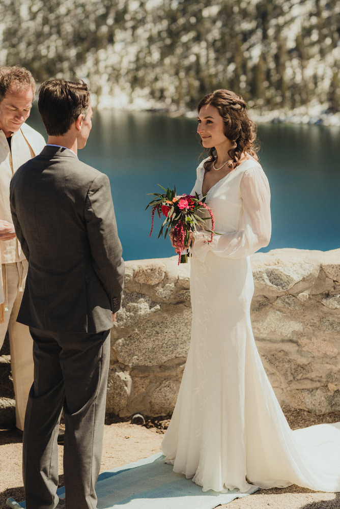 Emerald Bay Elopement, bride during the ceremony photo