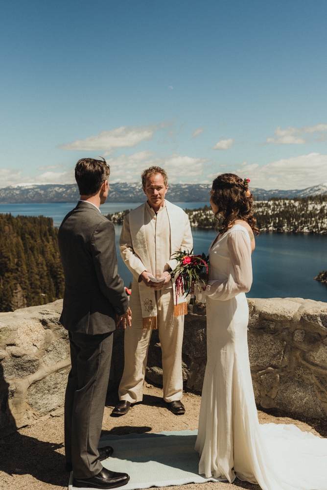 Emerald Bay Elopement, couple during the ceremony photo