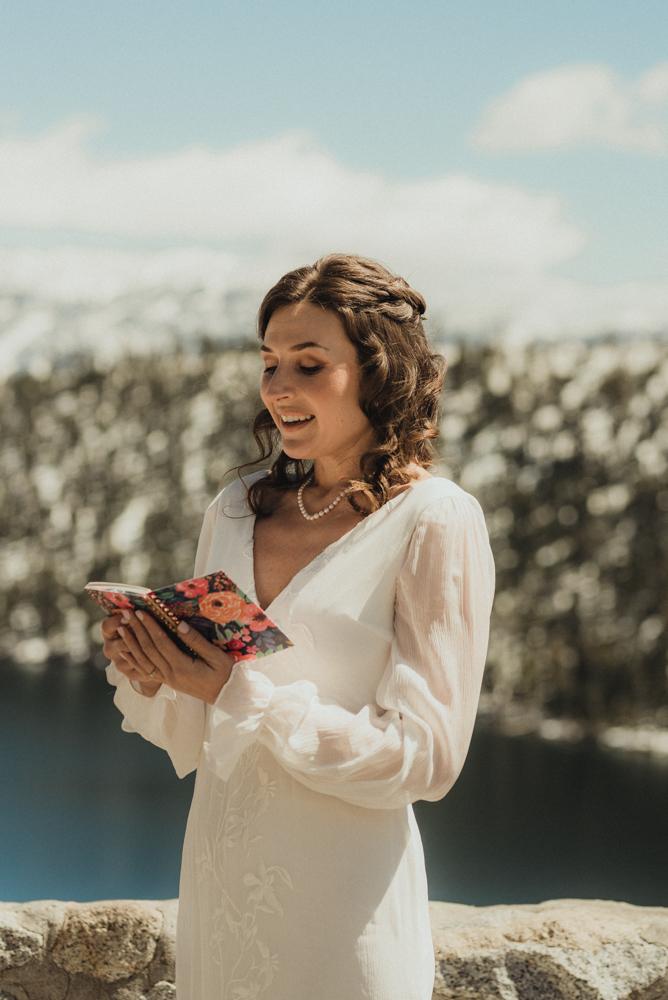 Emerald Bay Elopement, bride reading her vows photo