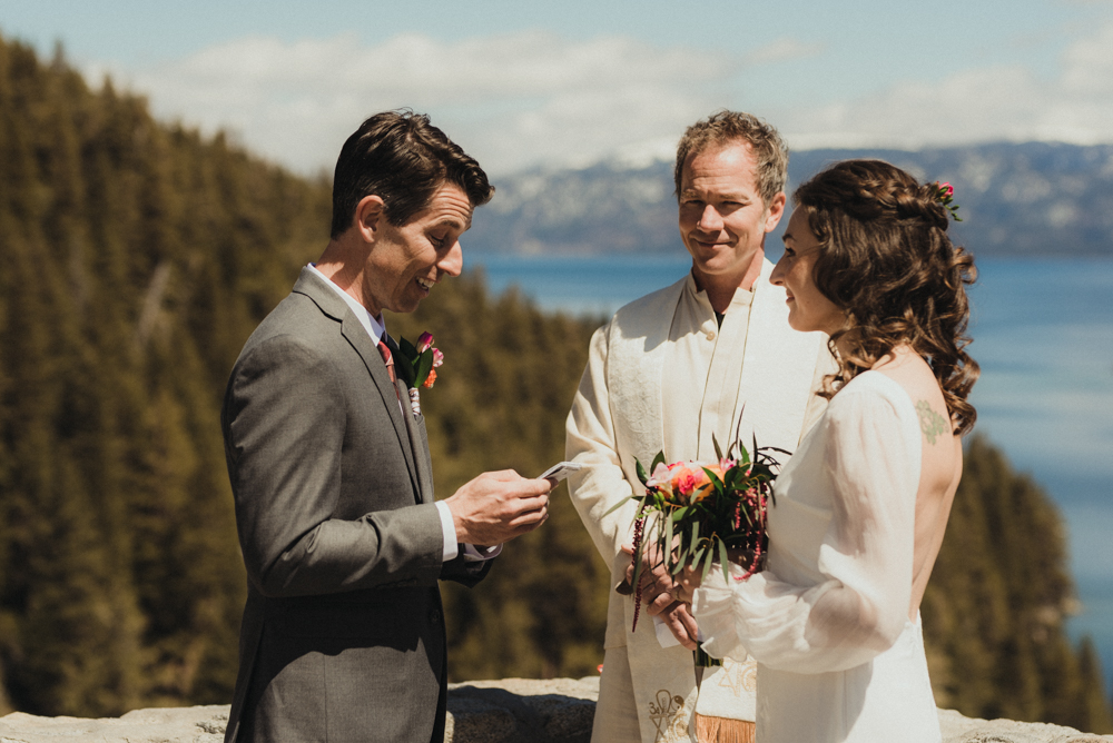 Emerald Bay Elopement, groom reading his vows photo