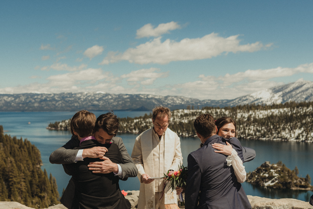 Emerald Bay Elopement, bride and groom hugging sibling photo