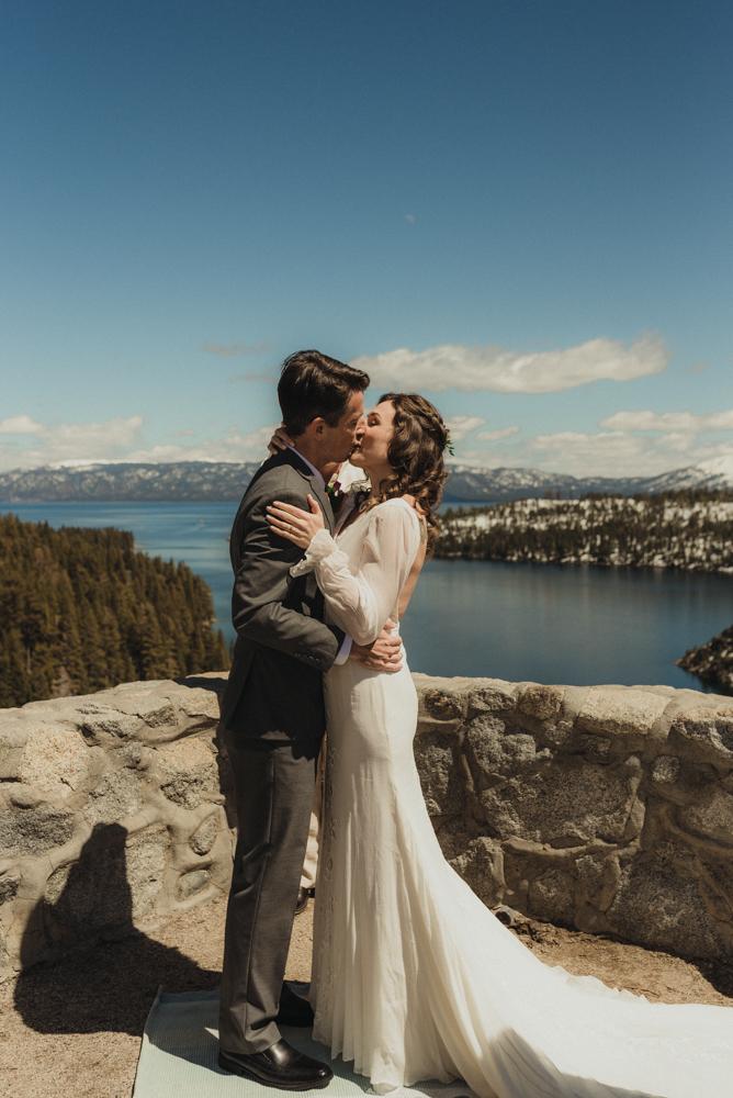 Emerald Bay Elopement, first kiss photo