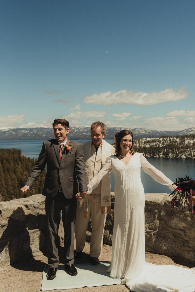 Emerald Bay Elopement, after ceremony excitement photo