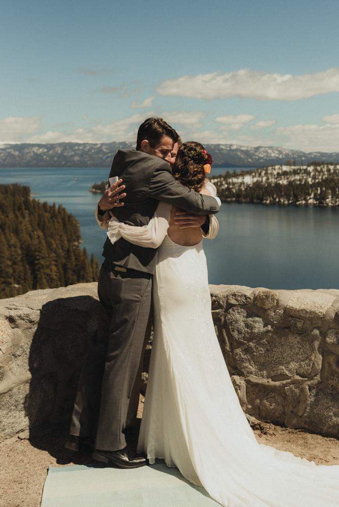 Emerald Bay Elopement, couple hugging photo