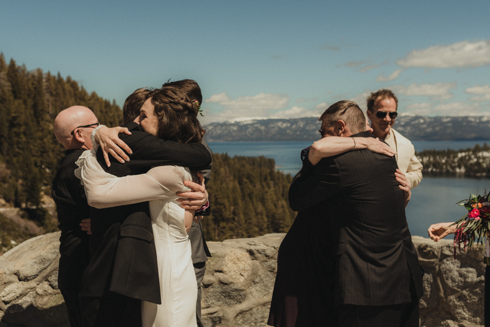 Emerald Bay Elopement, family celebrating and hugging photo
