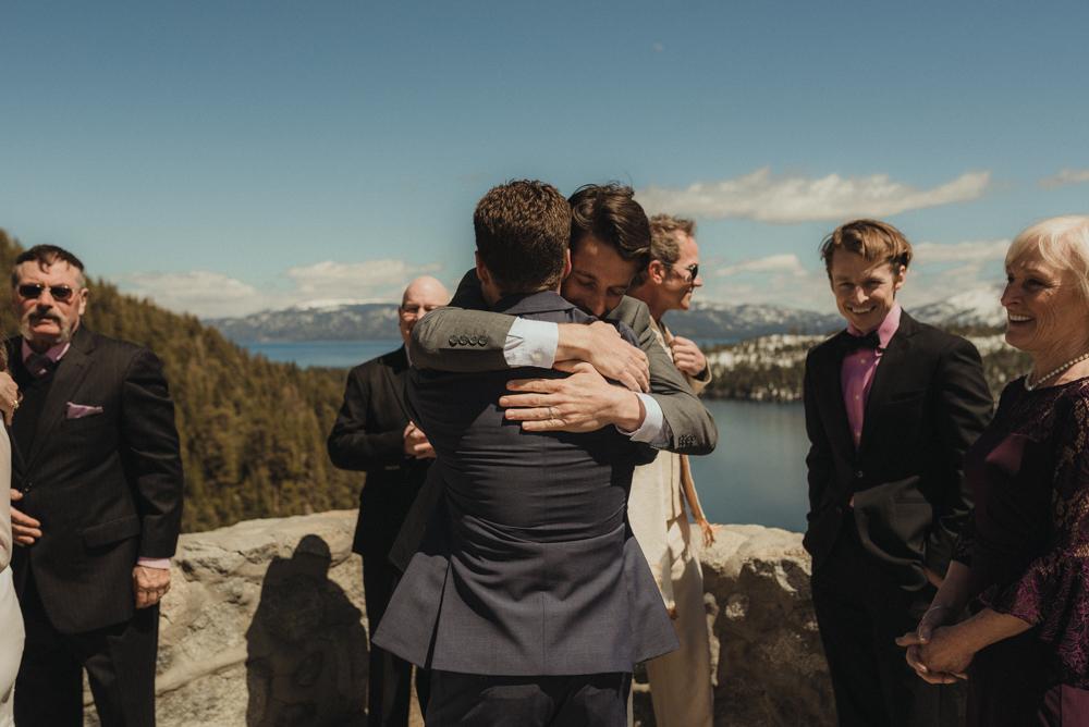 Emerald Bay Elopement, siblings hugging photo