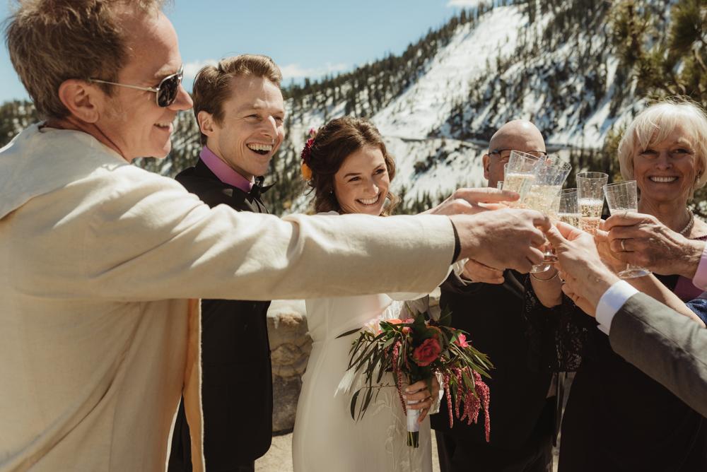 Emerald Bay Elopement, bride cheering photo