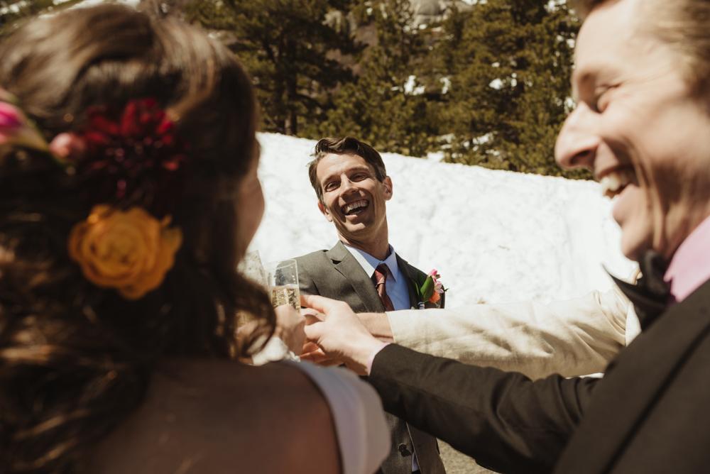 Emerald Bay Elopement, groom cheering photo