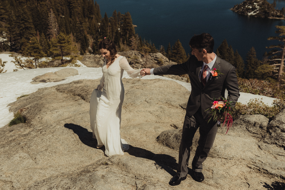 Emerald Bay Elopement in April, couple hanging out photo