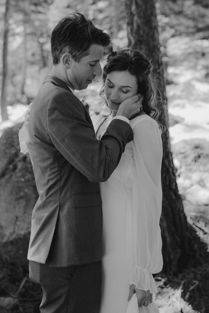 Emerald Bay Elopement in April, sweet couples moment photo
