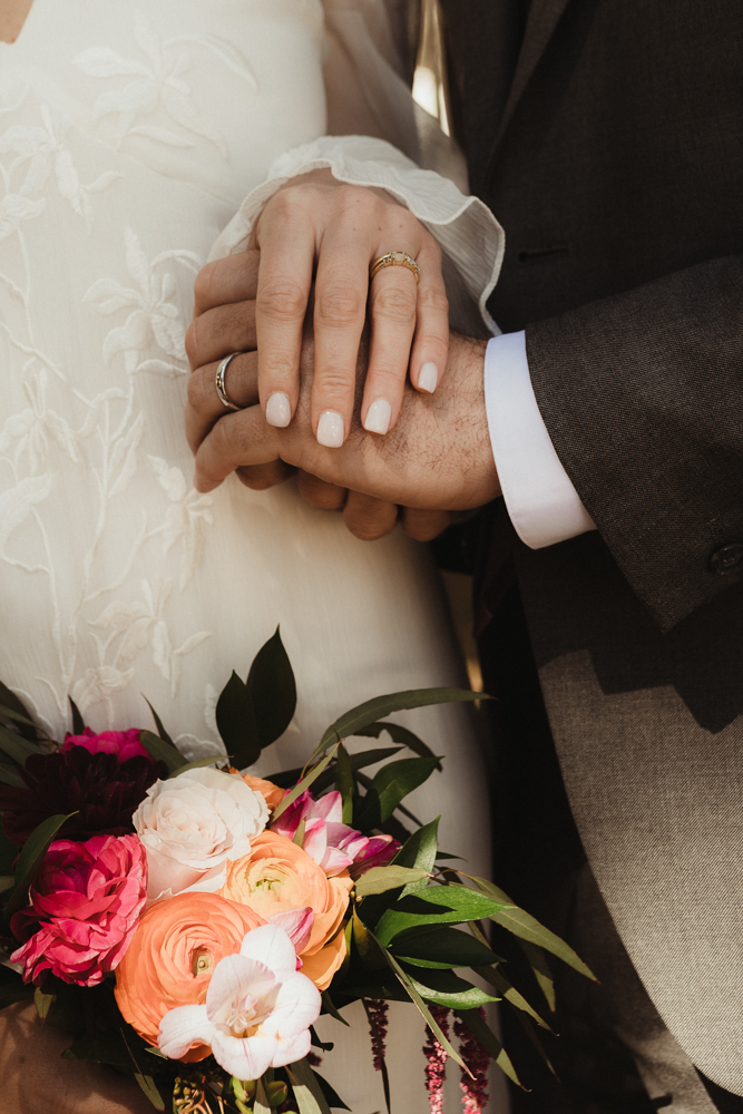 Emerald Bay Elopement in April, brides flowers and nails photo