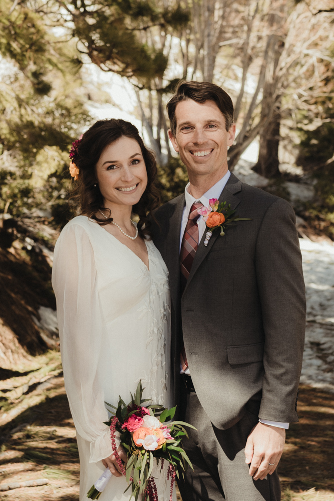 Emerald Bay Elopement in April, couple smiling at the camera photo