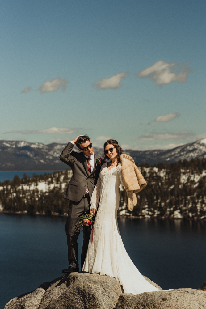 Emerald Bay Elopement in April, couple wearing glasses photo