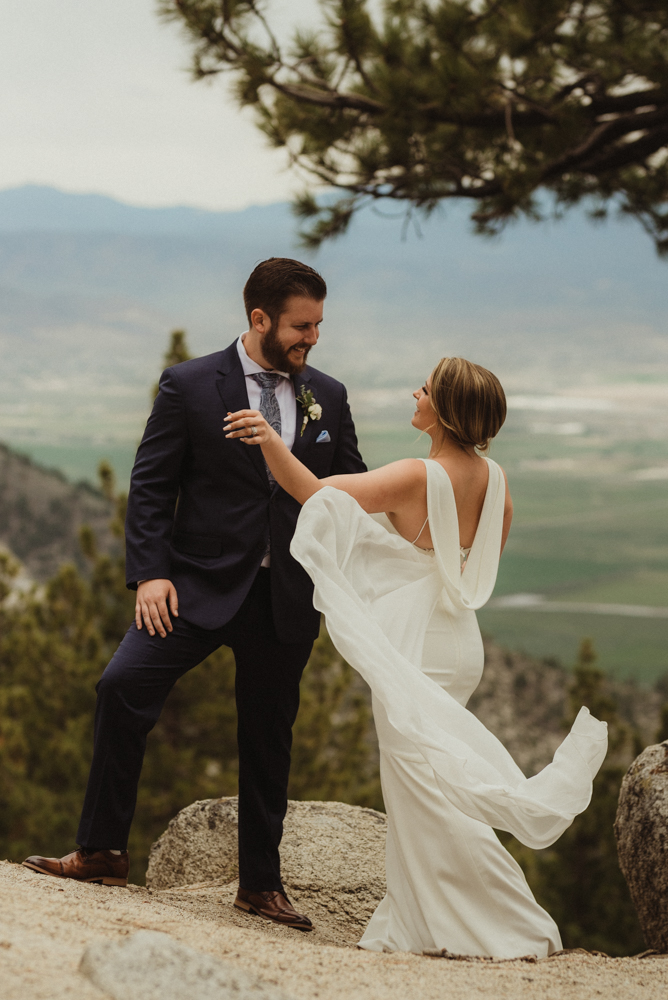 Elopement Lake Tahoe, photo of bride's dress