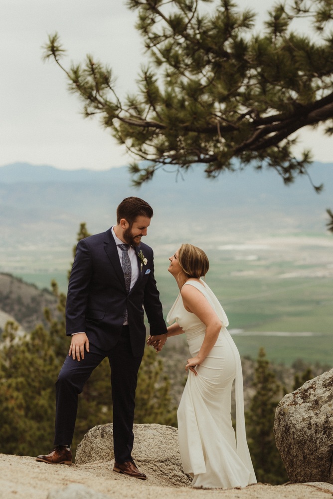Elopement Lake Tahoe, photo of couple laughing