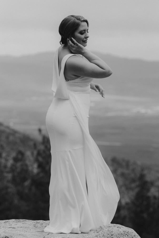 Elopement Lake Tahoe, photo of bride