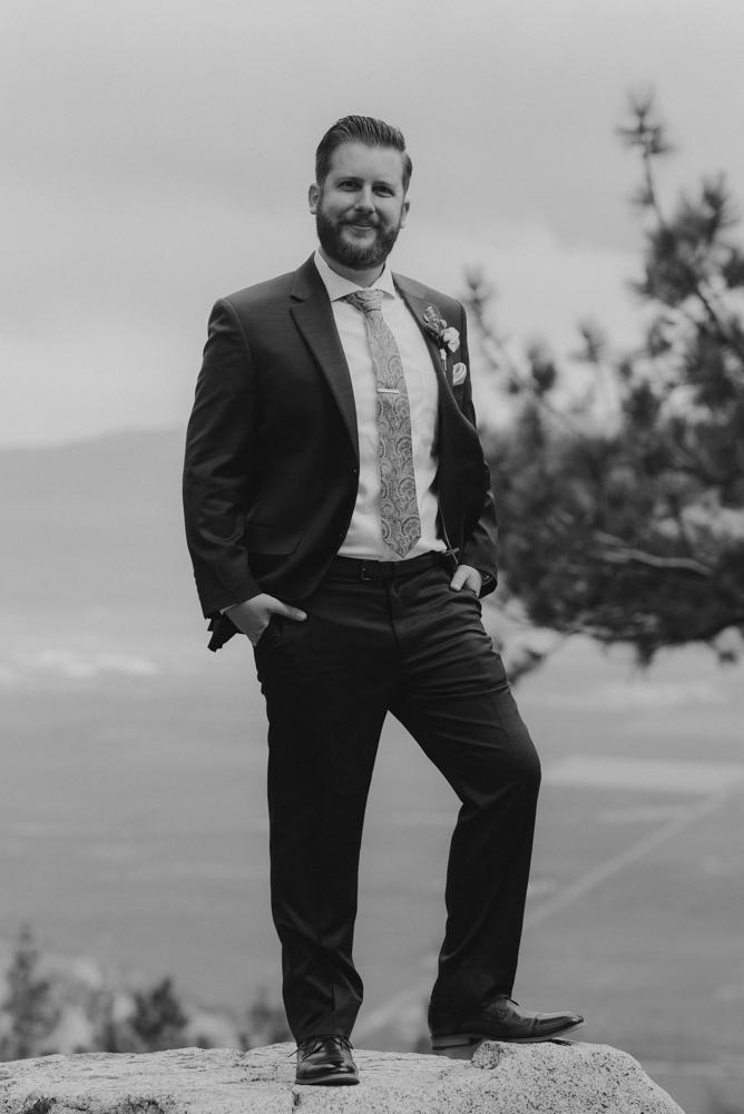 Elopement Lake Tahoe, photo of groom