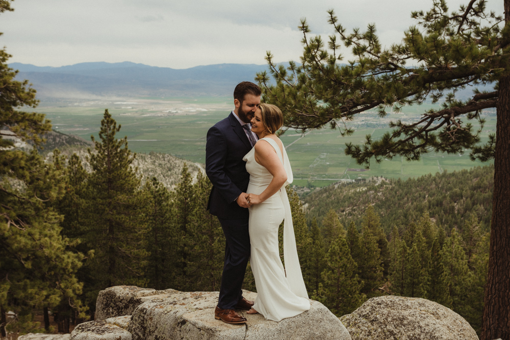 Elopement Lake Tahoe, photo of couple kissing on a rock