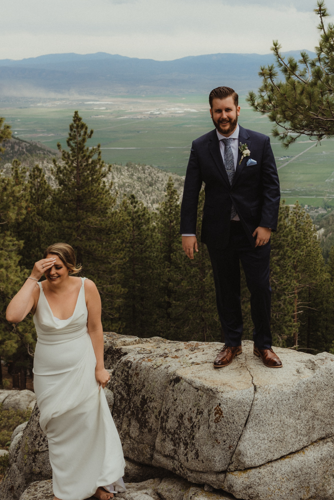 Elopement Lake Tahoe, candid photo of couple