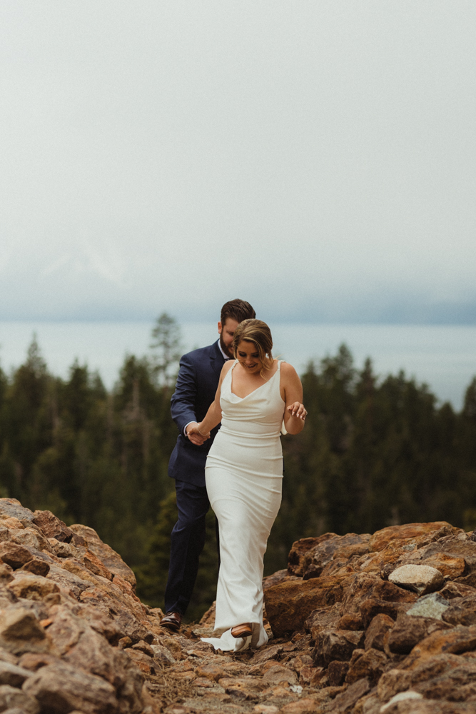 Elopement Lake Tahoe, photo of couple walking towards the camera