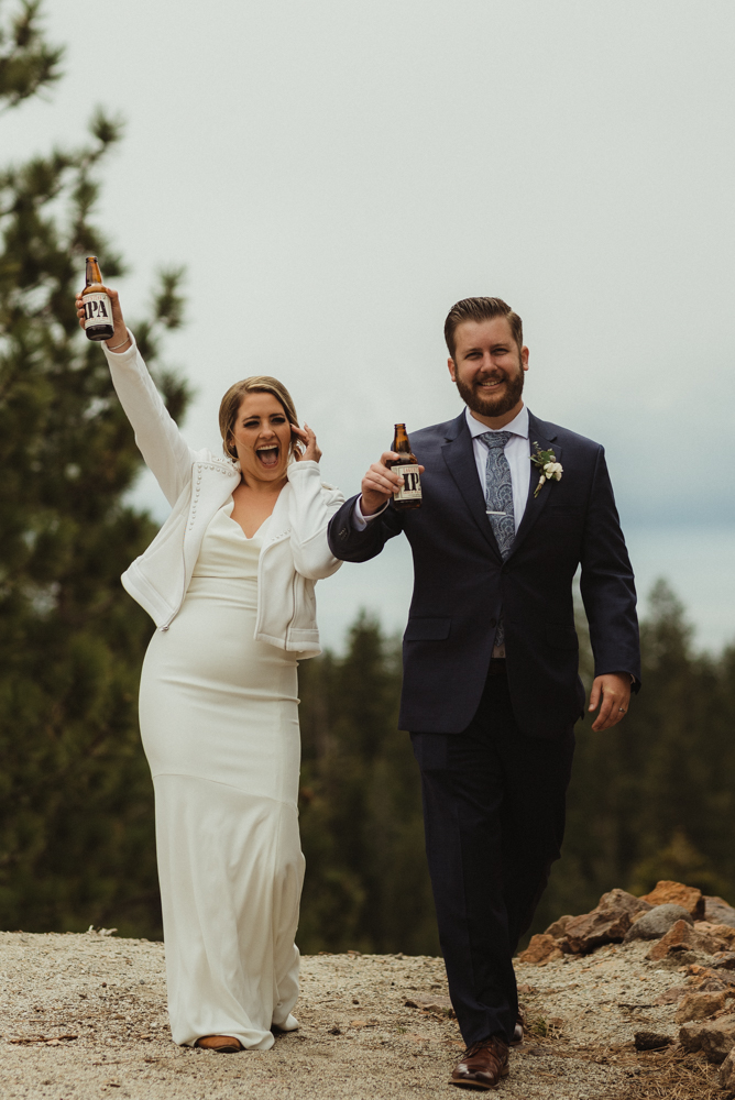 Elopement Lake Tahoe, photo of couple holding beer