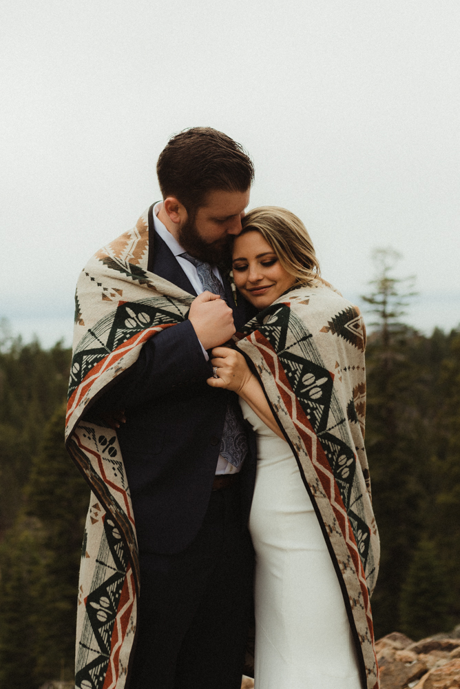 Elopement Lake Tahoe, photo of couple under a blanket