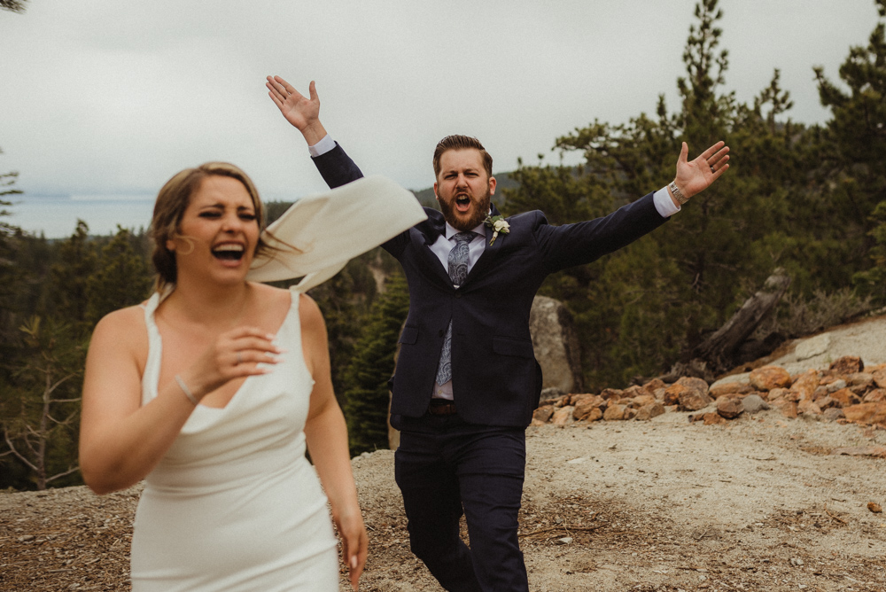 Elopement Lake Tahoe, photo of groom being super stoked