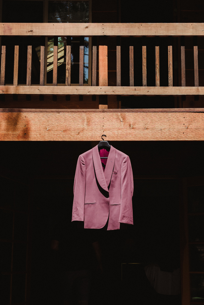 Twenty Mile House Wedding, photo of groom's pink jacket