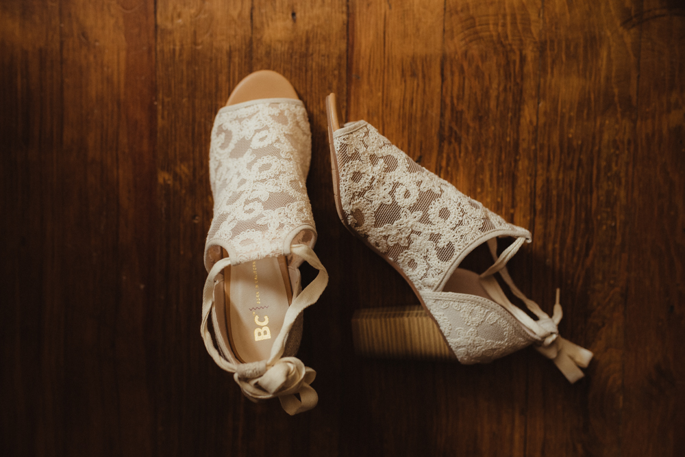 Twenty Mile House Wedding, photo of bride's shoes