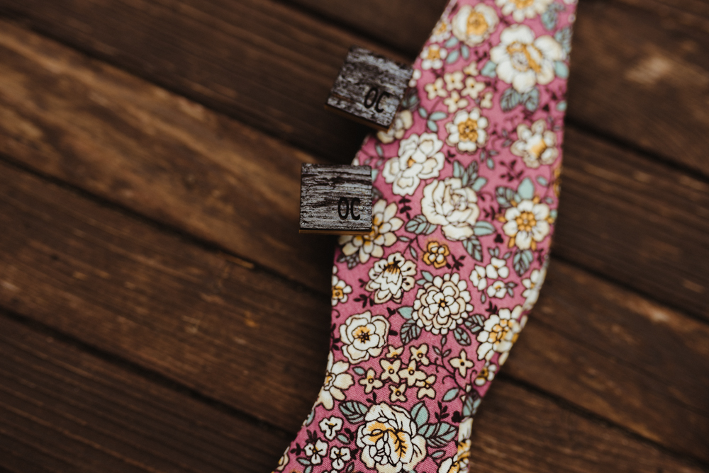 Twenty Mile House Wedding, photo of floral bow tie and custom cuff links with grooms initials