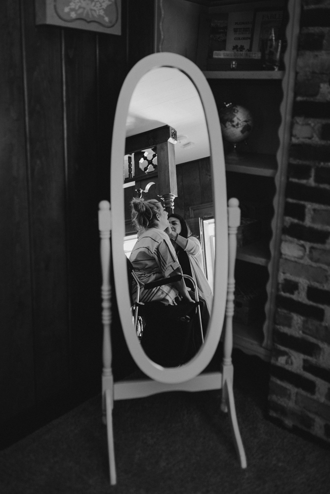 Twenty Mile House Wedding, photo of bride through the mirror