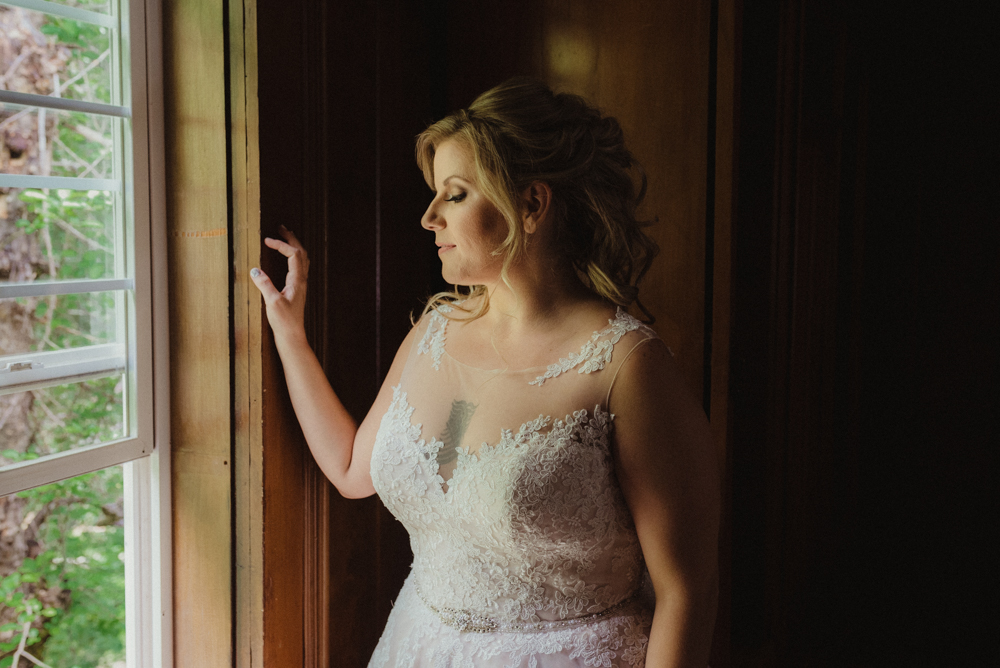 Twenty Mile House Wedding, photo of bride by the window