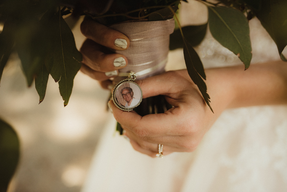 Twenty Mile House Wedding, photo of charm on bouquet