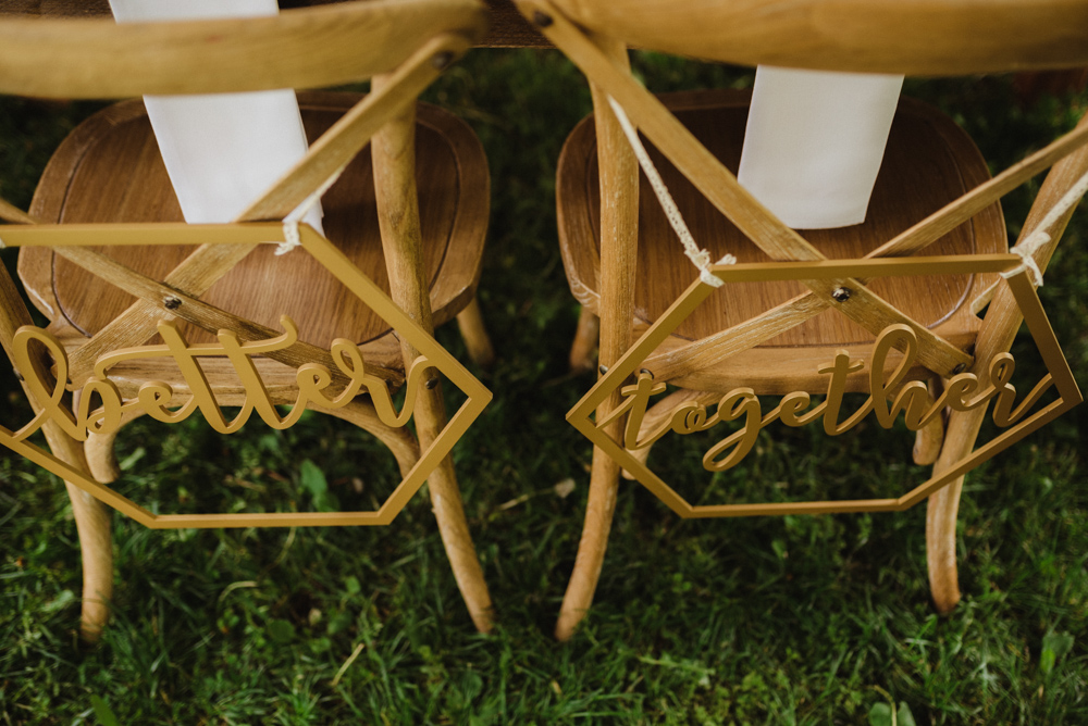 Twenty Mile House Wedding, photo of chairs that say: forever together