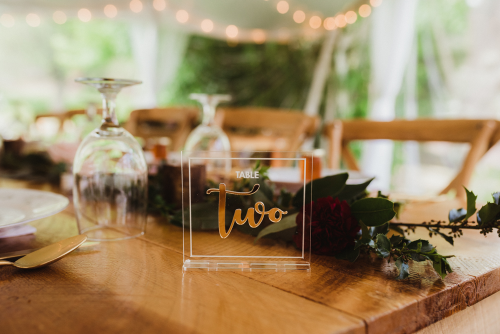 Twenty Mile House Wedding, photo of table number edged on glass