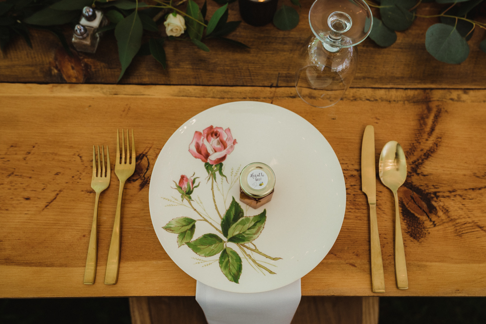 Twenty Mile House Wedding, photo of vintage plates