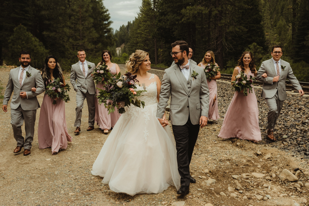 Twenty Mile House Wedding, photo of bridal party walking with couple