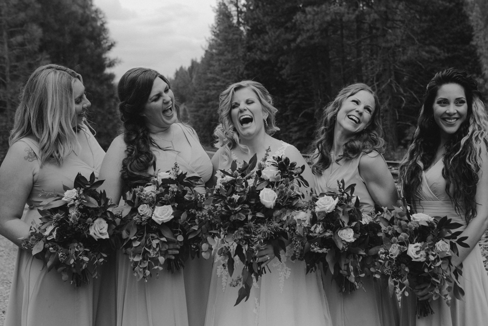 Twenty Mile House Wedding, photo of bridal party laughing